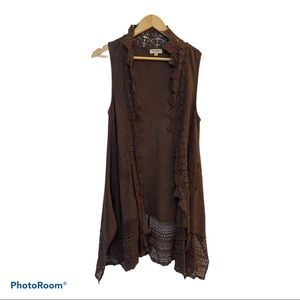 Umgee Boho Chocolate Brown Long Vest Size Small